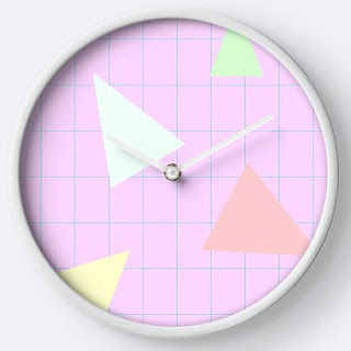 80s Triangles and Grid Wall Clock
