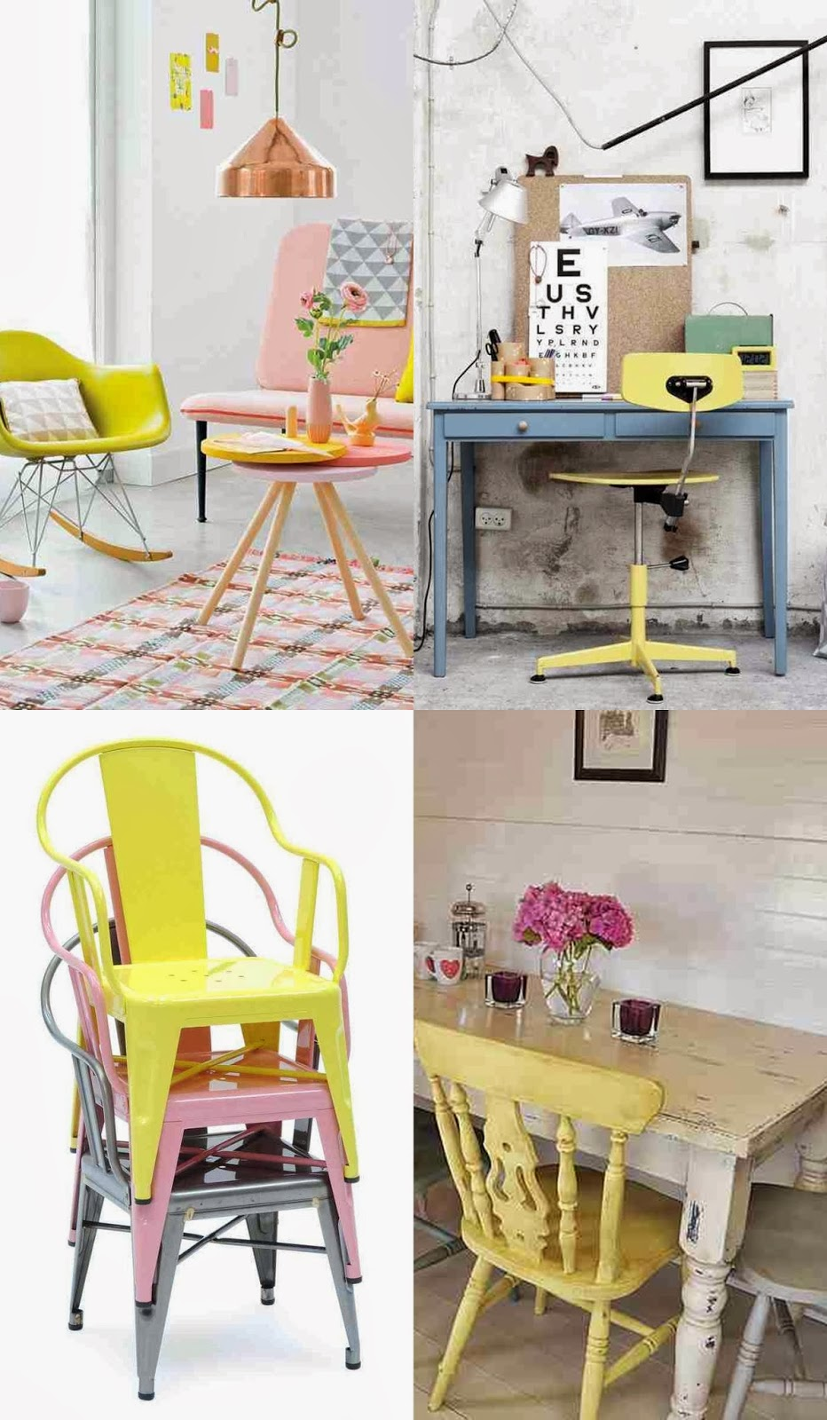 Pastel tolix, pastel yellow chairs, yellow rocker eames