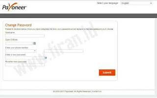 Cara Reset Password Payoneer