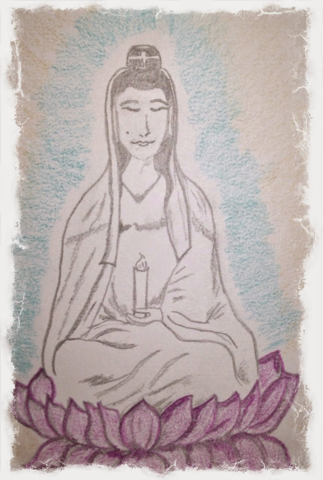 drawing of Quan Yin by ChristinA Ritchie