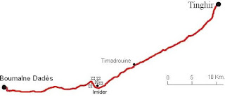 Mapa de Boumalne Dadés hasta Tinghir.