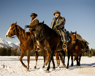 Christoph Waltz and Jamie Foxx on horses in Django Unchained