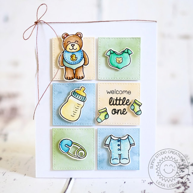 Sunny Studio Stamps: Baby Bear Watercolored Grid-Style Card by Lexa Levana.