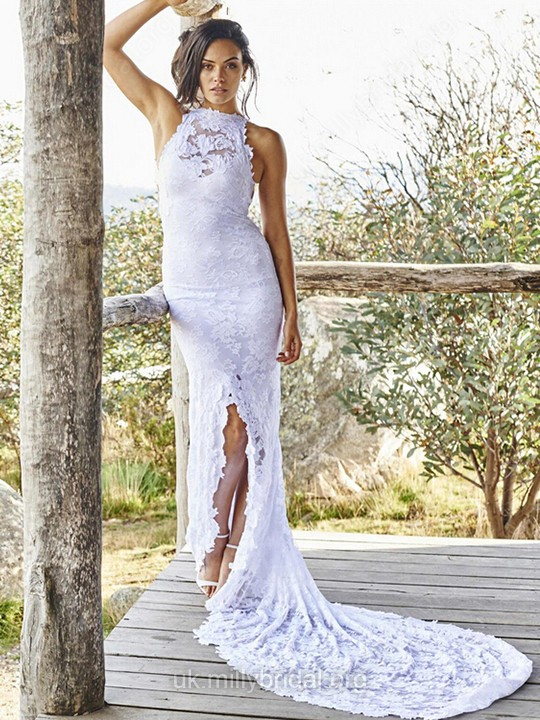 Lace Scoop Neck Sheath/Column Sweep Train with Split Front Wedding Dresses