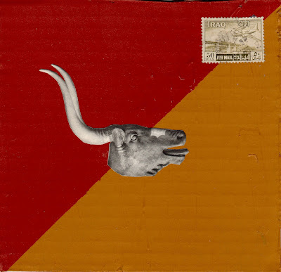 sacrificial bull iraq airmail postage stamp flag Dada Fluxus Melancholy nostalgia horns ancient Mesopotamia art
