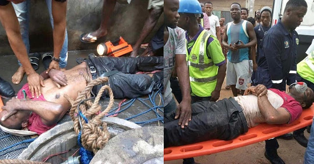 Man rescued alive from a 160ft well in Lagos