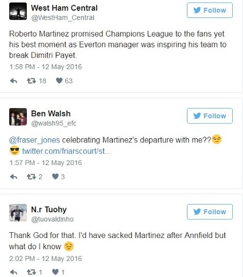 2 Everton sacks Roberto Martinez as manager, fans rejoice