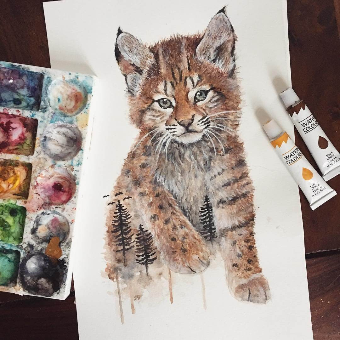 10-Lynx-Kitten-Kathrin-Schwarz-Animal-Paintings-in-Different-Styles-www-designstack-co