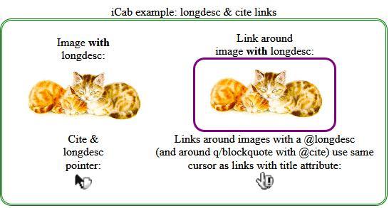iCab. Una imagen con longdesc o cite presentará un cursor con el icono de una flecha sobre un documento. Una imagen (o cita) que es un enlace y tiene longdesc presenta el icono de una mano con guante y una exclamación.
