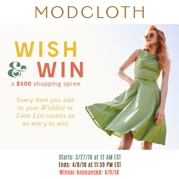 ModCloth wish and win $500 shopping spree banner March 2018