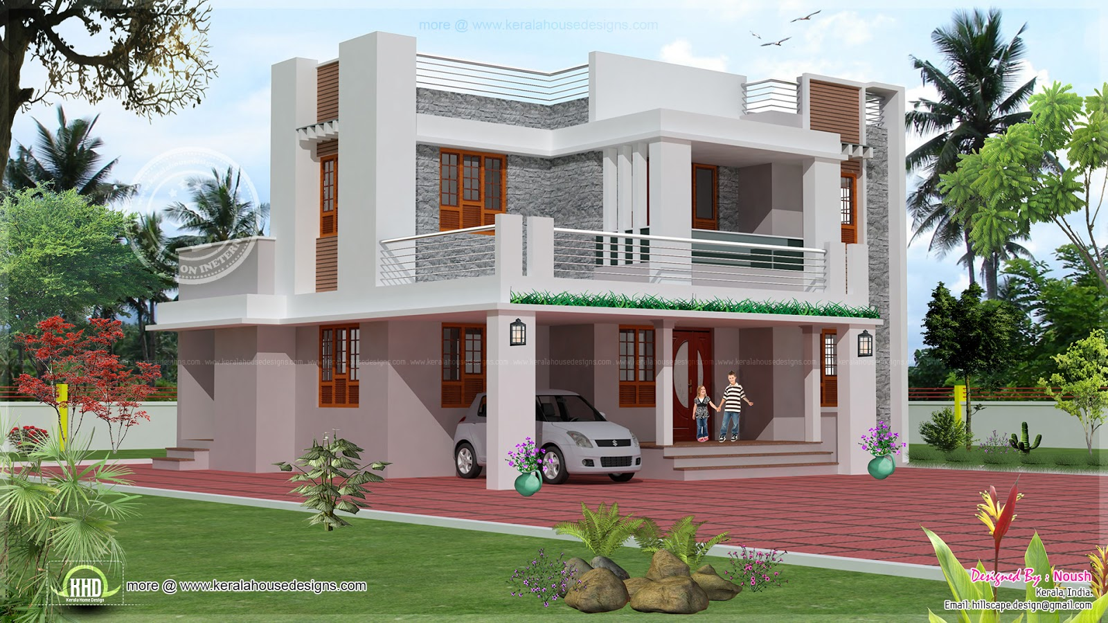 4 bedroom 2 story house exterior design home kerala plans for Simple house front design