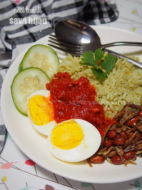 nasi lemak hijau sederhana