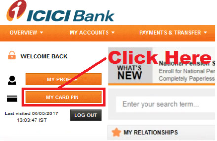 how to generate icici bank debit card pin online