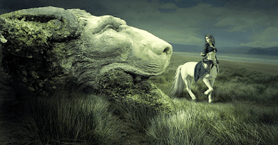 Pemandangan Fantasi Dongeng Singa Membatu