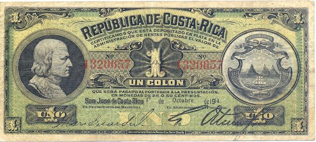 Costa Rica Colon Silver Certificate