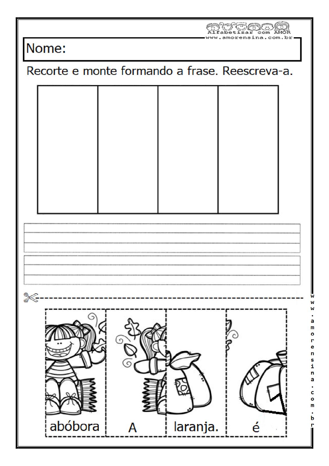 Formando Frases Com Recorte E Colagem 1º Ano 2º Ano