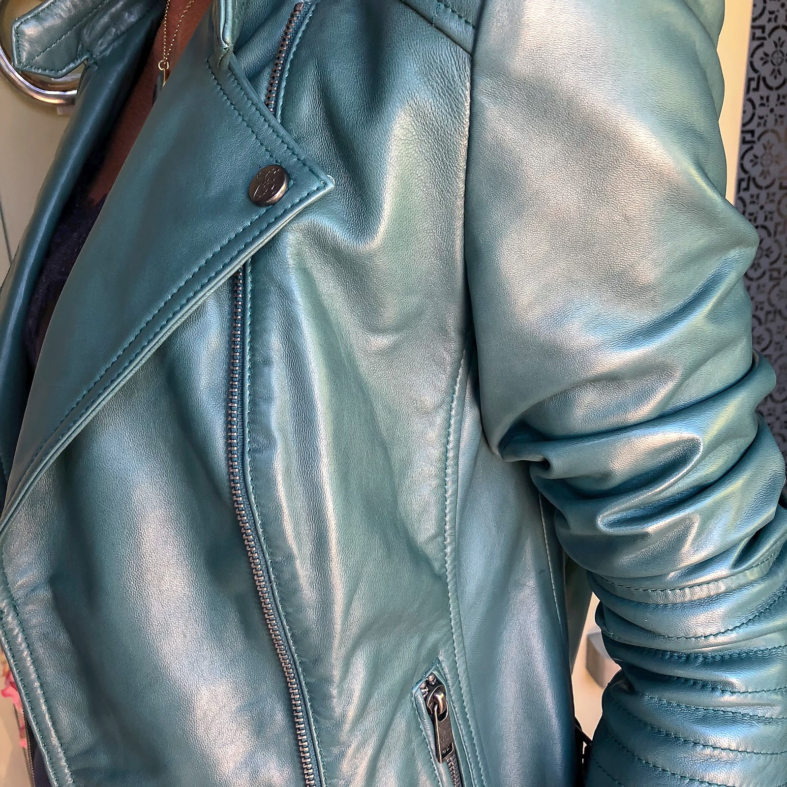 my midlife fashion, lakeland leather toni leather biker jacket in petrol green