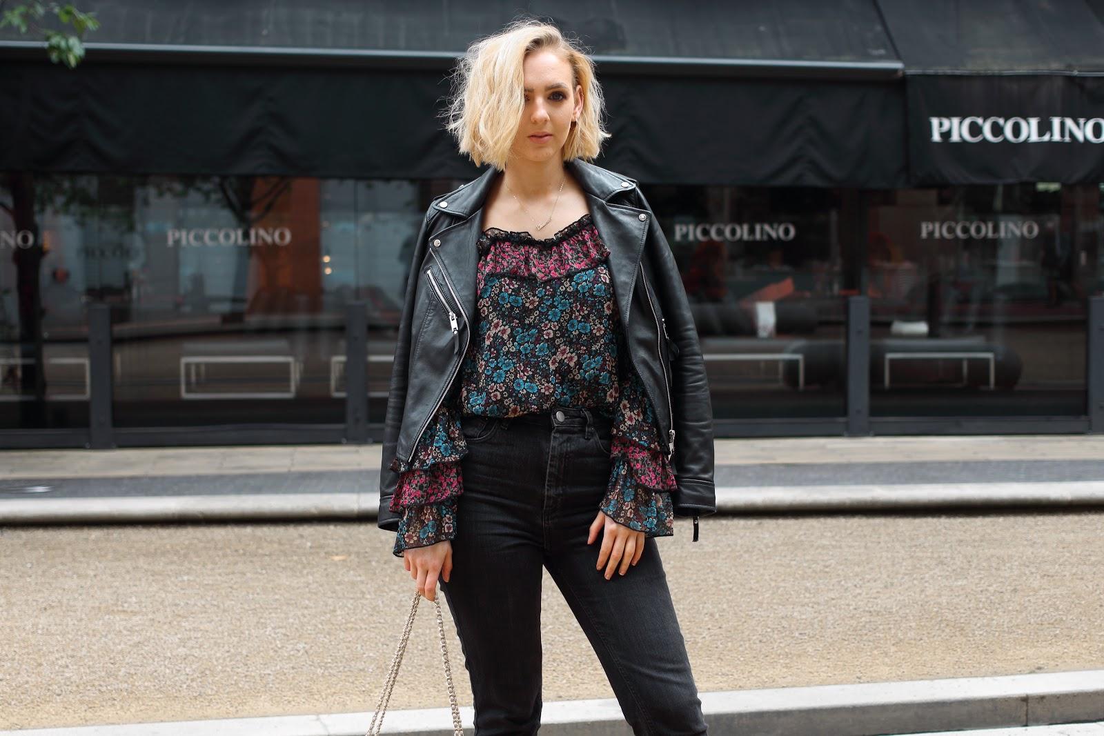 Frills, Cold Shoulder, top, river, island, floral, pink, blue, styled, leather, jacket, fashion, uk, blogger, hughstreet, birmingham