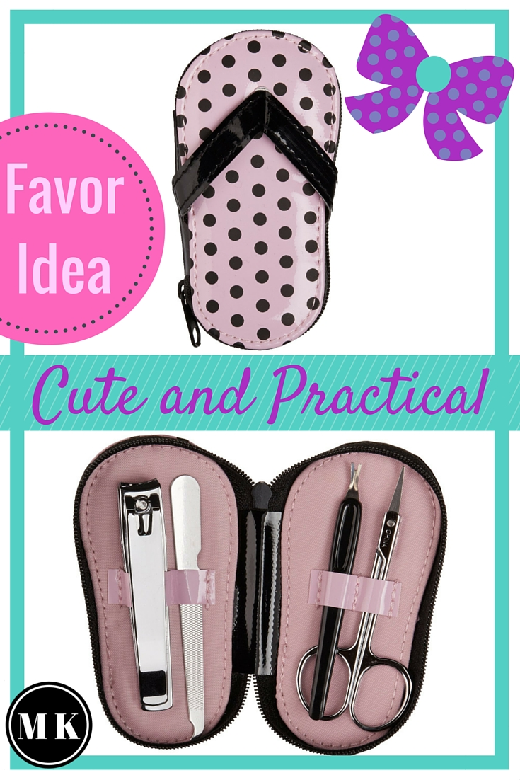 "Pink Polka Dot Flip Flop Pedicure Set – These toe nail polish pedicure tool sets are so dang cute! I can't get over how adorable they are! They're the perfect favor idea for a bridal shower or baby shower for a girl. Your guests will love these party gifts, and it's a great way to say ""Thank you""!"