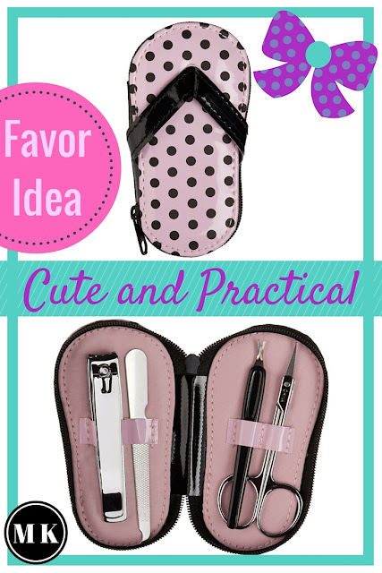 """Pink Polka Dot Flip Flop Pedicure Set – These toe nail polish pedicure tool sets are so dang cute! I can't get over how adorable they are! They're the perfect favor idea for a bridal shower or baby shower for a girl. Your guests will love these party gifts, and it's a great way to say """"Thank you""""!"""