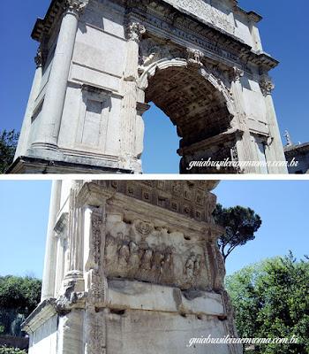 Arco de Tito, detalhe do interior do Arco com o Menorah durante o triunfo