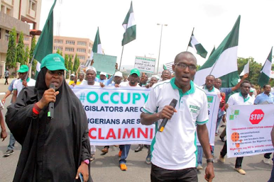 Protesters under occupynass in abuja call for resignation of senate president Bukola saraki