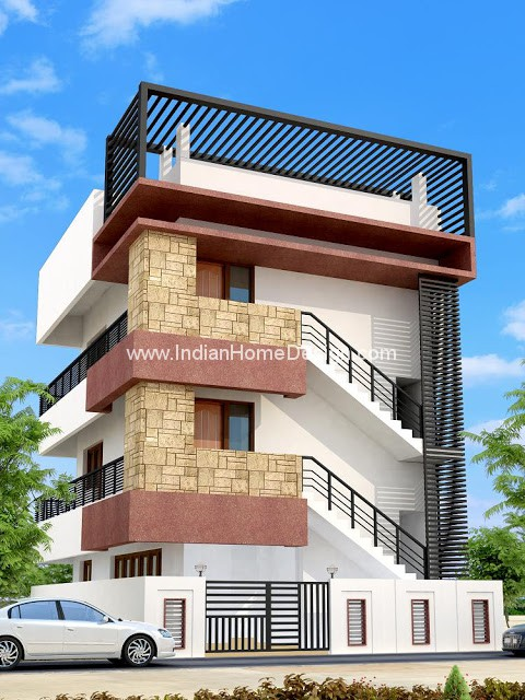 2400Sqft Residential building 3d view from Ateeq Ahmed