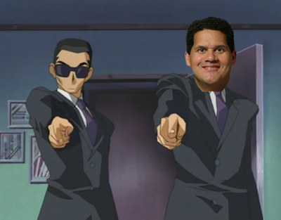 Reggie Fils-Aime Yu-Gi-Oh! anime episode 8 Maximillion Pegasus 4Kids censorship goons fingers guns