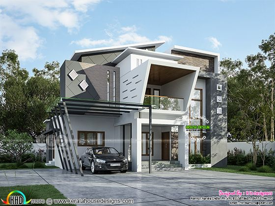 Ultra modern contemporary house rendering