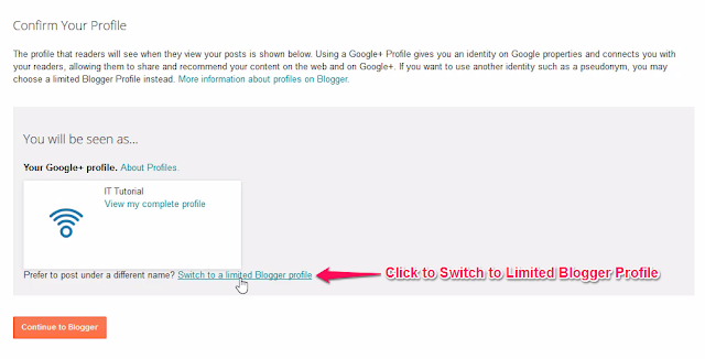 Link to Switch to a Limited Blogger Profile