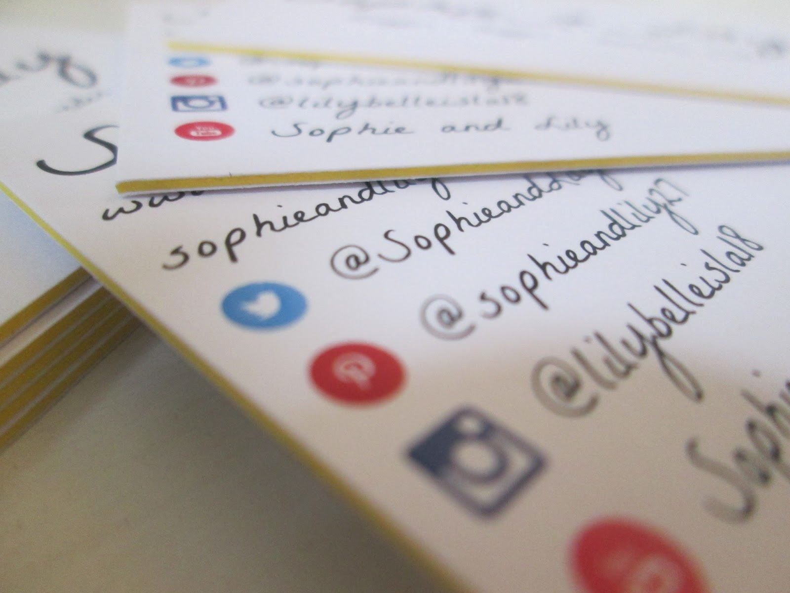 Aura print business cards | Sophie and Lily