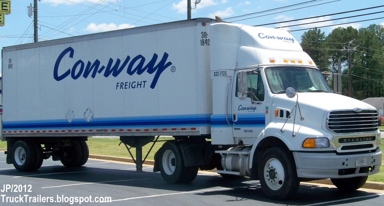 8169800a1 CON-WAY FREIGHT Trucking Company Ann Arbor Michigan, STERLING Day Cab  Truck, Con-way Freight Lines Sterling City Delivery Truck Georgia I-75