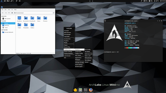 Descargar ArchLabs Minimo X64, un sistema operativo diferente ultra ligero y minimista