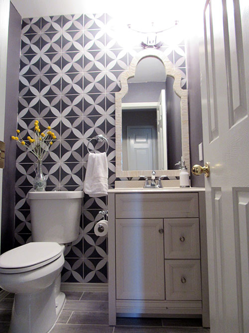 The Wallpaper Was Torn Down And Replaced With An Accent Wall Of Graphic Tile Merola Twenties Petal From Home Depot Pedestal Sink