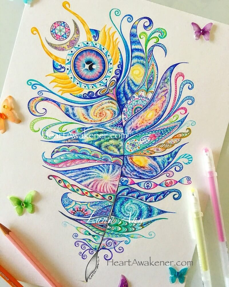 Mercury feather drawing by Luna Ahn