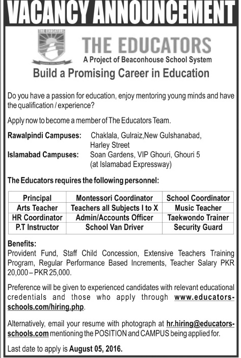 Teaching Jobs in The Educators Schools in Different Campuses for All subjects Apply Online