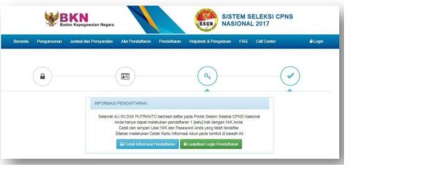 Halaman Berhasil Daftar di Portal SSCN 2017
