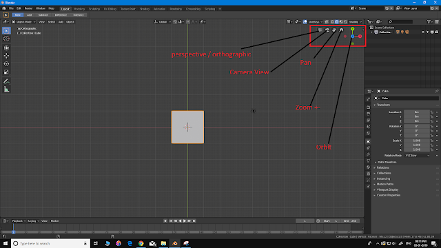 Blender perspective orthographic  camera pan zoom orbit
