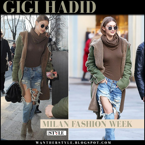 Gigi Hadid in green shearling coat and ripped jeans one teaspoon milan fashion week street style what she wore