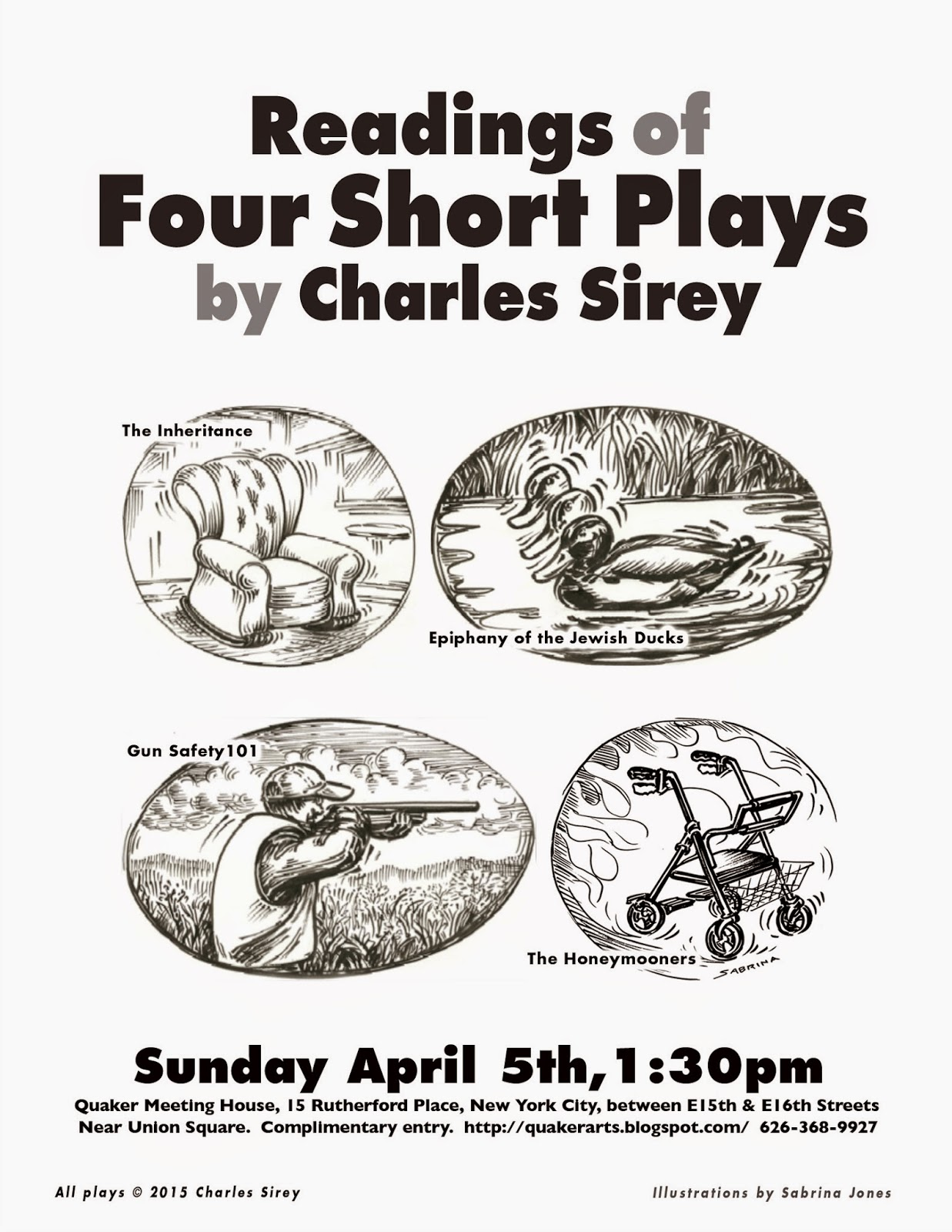 Four Short Plays by Charles Sirey 4/5/15 The Inheritance, Ephiphany of the Jewish Ducks, Gun Safety 101, the Honeymooners