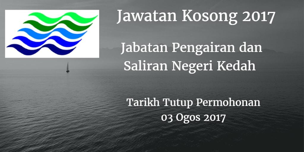 Jawatan Kosong Jabatan Pengairan dan Saliran Negeri Kedah 03 Ogos 2017