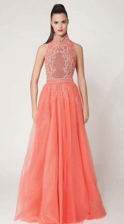 vestido de festa coral ou salmão