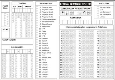 Download LJK/Lembar Jawaban Komputer Lengkap Berbagai Versi