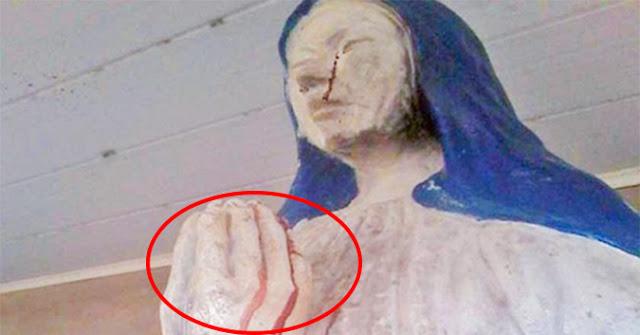 Tượng Đức Mẹ khóc ra Máu suốt hơn 1 tuần qua