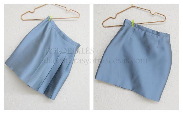 prototipo falda recta con pliegues laterales