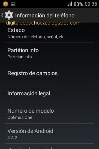 Información del teléfono cyanogenmod versión de android 4.4.2 optimus one