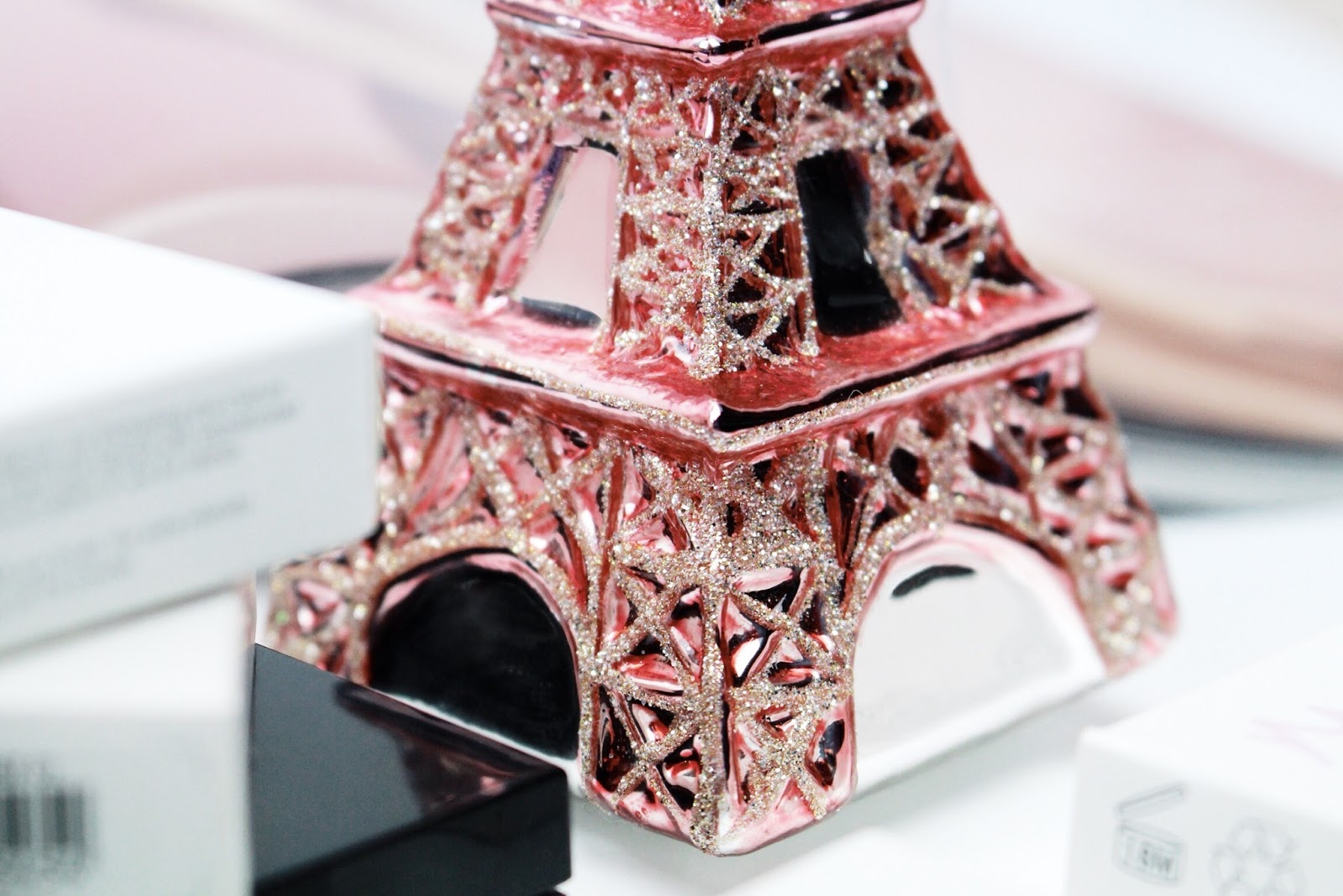Pink Eiffel Tower glass Christmas decoration by John Lewis
