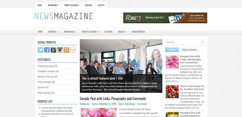 NewsMagazine Free Blogger Template