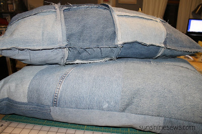 Repurposed denim dog beds
