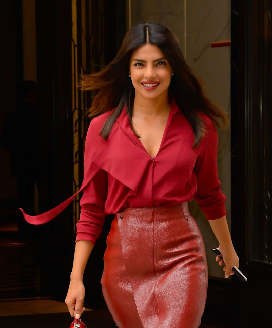 Priyanka Chopra in Red – Leaving her apartment in New York